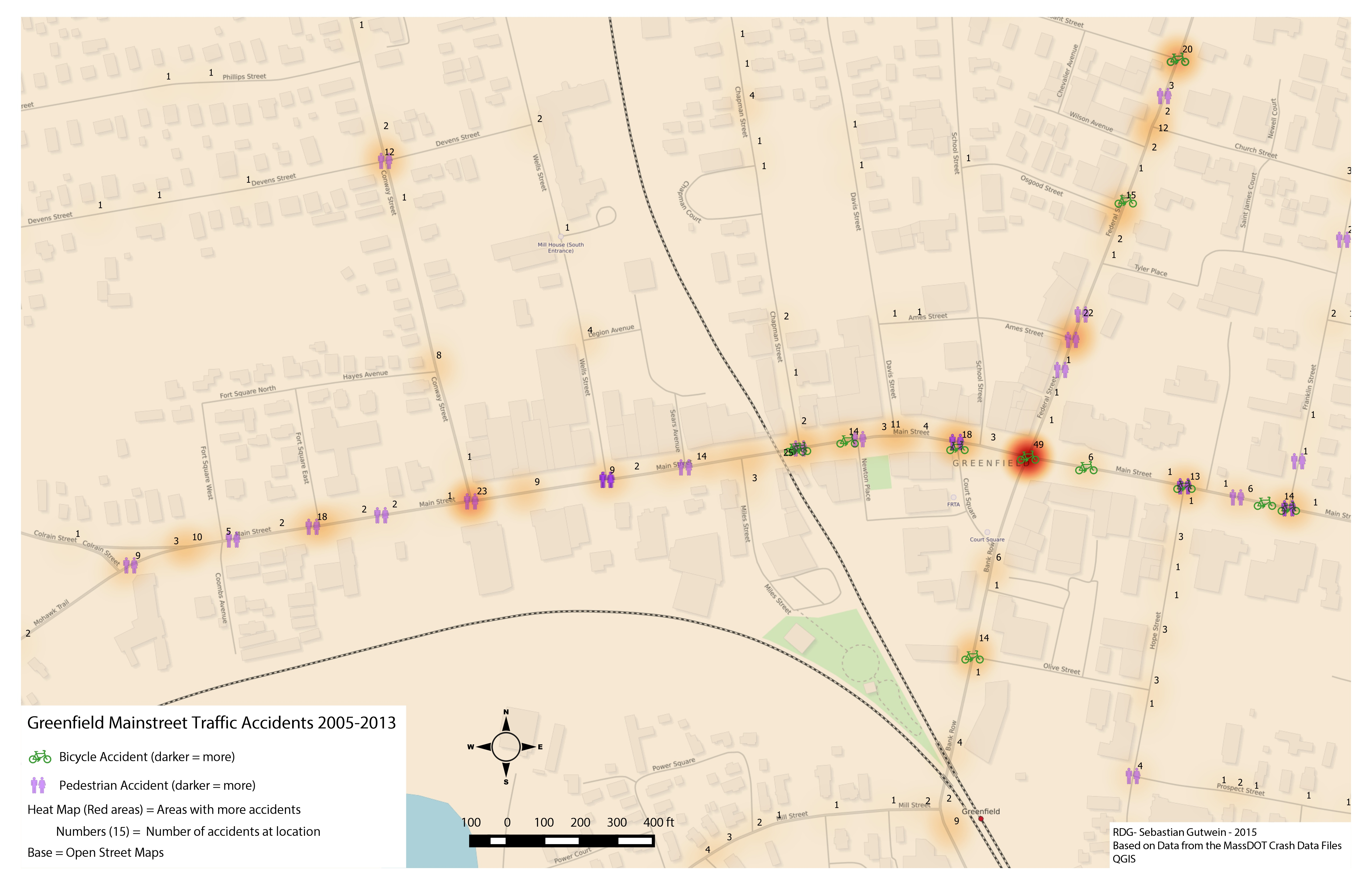Map Of Greenfield MA Traffic Accidents
