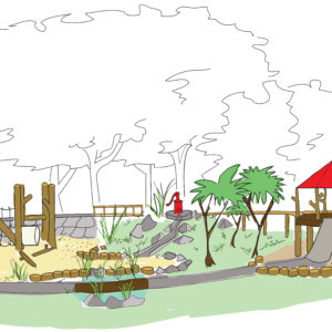 An Early Concept Sketch Of A Rustic Playground.