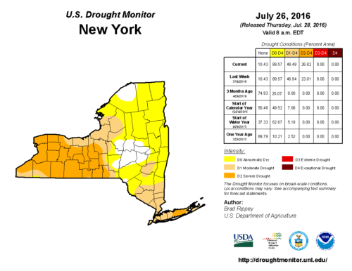 47% of New York State was in a severe or moderate drought in July 2016.